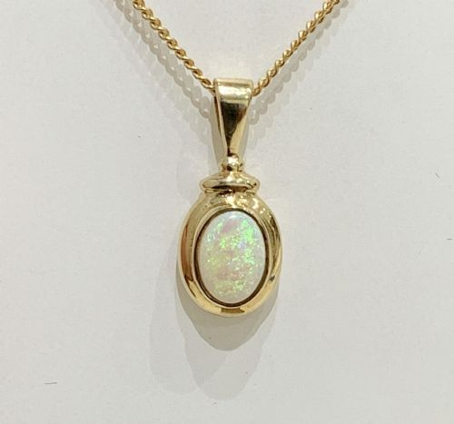 Opal Yellow Gold Oval Rubbed Over Necklace